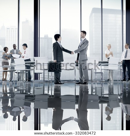 Business People Board Room Meeting Handshake Communication Concept #332083472