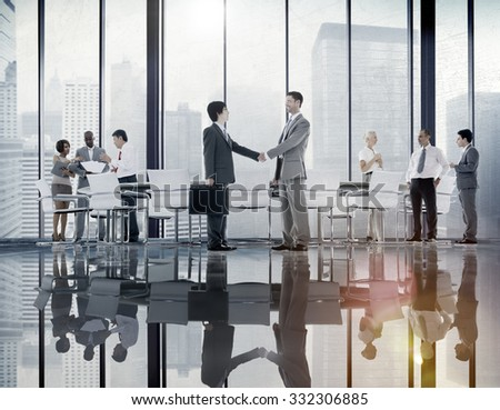 Business People Board Room Meeting Handshake Communication Concept #332306885