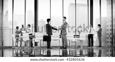 Business People Board Room Meeting Handshake Communication Concept #432805636