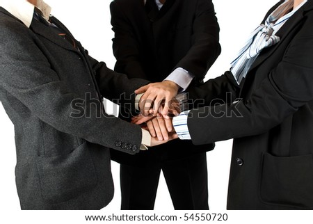 Business people  body parts with hands on top of each other ,concept of unity in business
