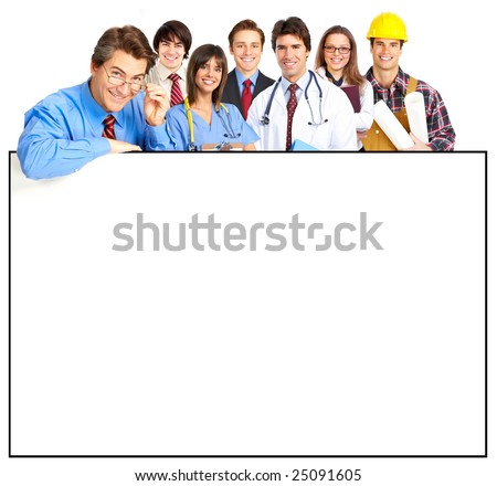 Business people, builder, nurse. Isolated over white background