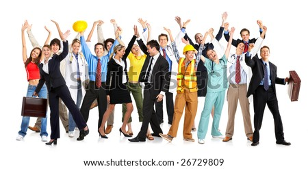 Business people, builders, nurses, doctors, architect. Isolated over white background