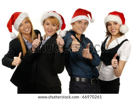 Business people celebrating new year - stock photo