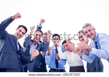 Business people cheering in office on white background