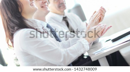 business people clapping hands. Business seminar concept #1432748009