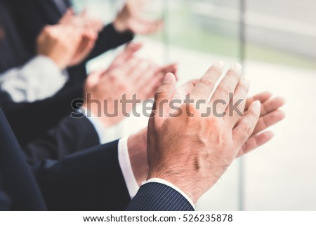 Business people  clapping their hands, congratulation and appreciation concepts