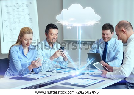 business, people, cloud computing and technology concept - smiling business team with smartphones, tablet pc computers working in office #242602495
