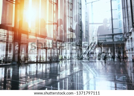 Business people collaborate together in office. Double exposure effects. Corporation, corporate. #1371797111