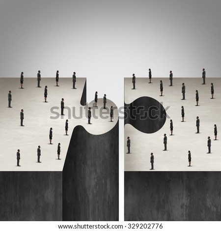 Business People collaboration concept as a jigsaw puzzle with two groups of businesspeople coming together as a corporate symbol for group agreement to build a project.