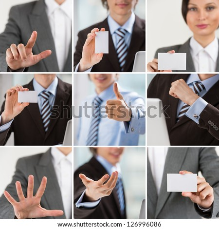 Business people collection of images with man and woman showing gestures and business cards