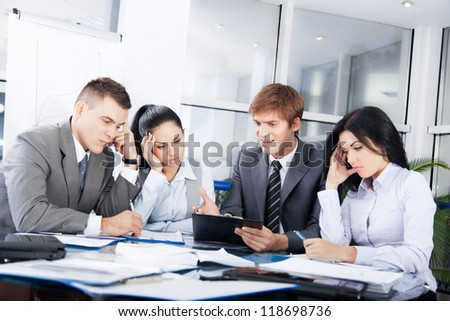 business people conflict working problem, angry boss argue scream to colleagues businessmen and women serious argument negative emotion businesspeople discussing report meeting at desk office
