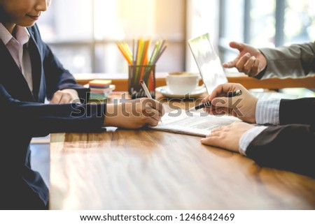 Business people contract. agreement was signed co-investment business