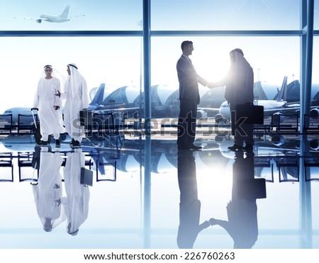 Business People Corporate Handshake Airport Concept stock photo