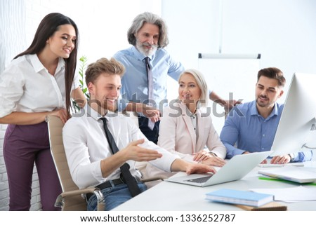 Business people discussing work matters at table in office. Professional communication #1336252787