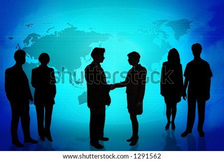 Business people doing different things in front of a world map BLUE