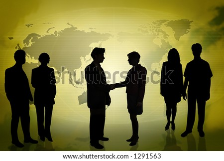 Business people doing different things in front of a world map GOLD - stock photo