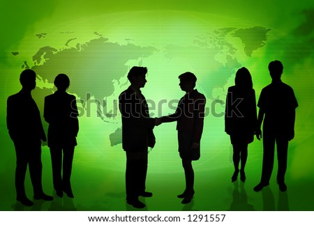 Business people doing different things in front of a world map GREEN