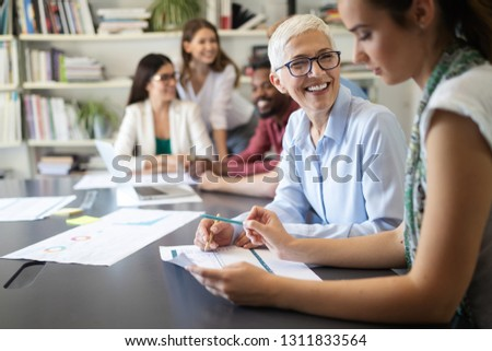 Business people good teamwork in office. Teamwork successful meeting workplace concept. #1311833564
