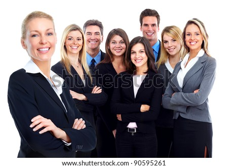 Business people group. Business team. Isolated over white background.