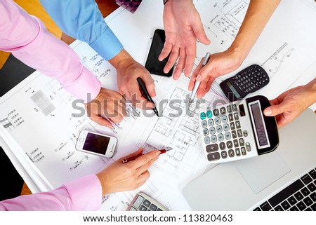 Business people group hands working in the office. - stock photo