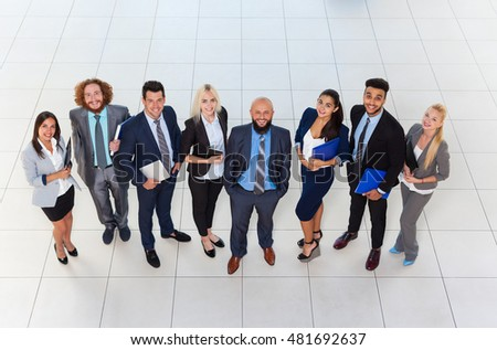 Business People Group Happy Smile Standing At Modern Office Top View, Businesspeople In Row Colleague Team