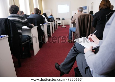 business people group have education leasson on seminar training event at small bright office conference room
