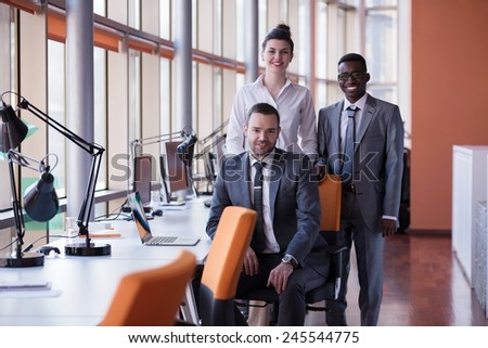 business people group have meeting and working in modern bright office indoor