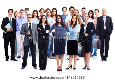 Business People Group. Isolated Over White Background. Education ...