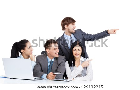 Business people group point finger to side empty copy space, businesswomen businessmen happy smile sitting at desk, Isolated over white background, concept of advertisement product