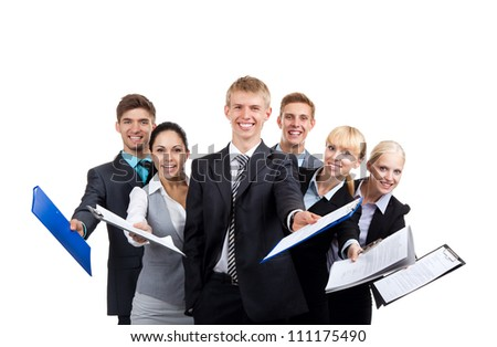 Business people group team hold documents clipboard sign up contract concept, young businesspeople standing together smile, Isolated over white background