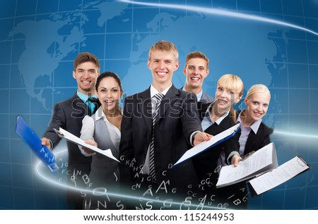 Business people group team hold documents clipboard sign up contract concept, young businesspeople standing together smile, over digital globe world map background