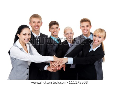 Business people group team hold pile hands, young businesspeople putting their hand on top each other, meeting looking at camera, concept team, working together smile, Isolated over white background