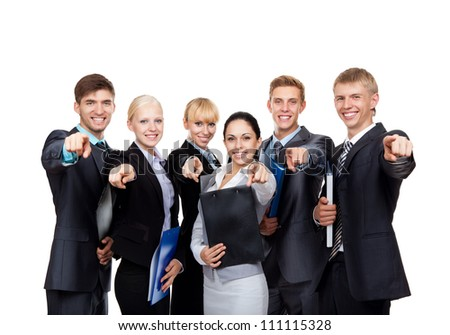 Business people group team point finger at you, young businesspeople standing together happy smile, hold folder clipboard Isolated over white background