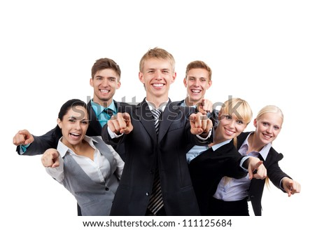Business people group team point finger at you, young businesspeople standing together happy smile, Isolated over white background