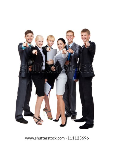 Business people group team point finger at you, young businesspeople standing together happy smile, hold folder clipboard, full length portrait Isolated over white background