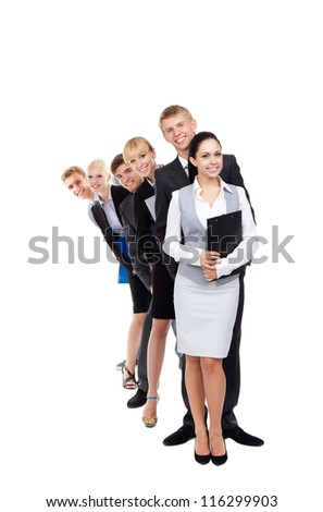 Business people group team standing in row line, young businesspeople together happy smile, hold folder clipboard, full length portrait Isolated over white background