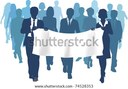 Business people group walks forward carrying banner ad copy space background