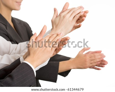 Business people hands applaud. The Close up