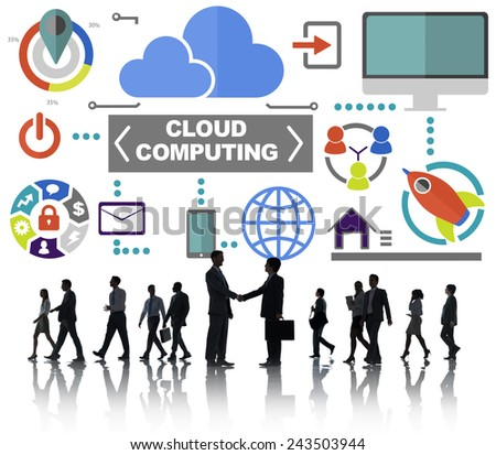 Business People Handshake Global Communications Cloud Computing Concept