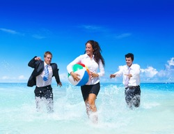 Business People Having Fun In The Water