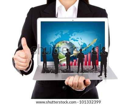 Business people hold Laptop with silhouette people - stock photo
