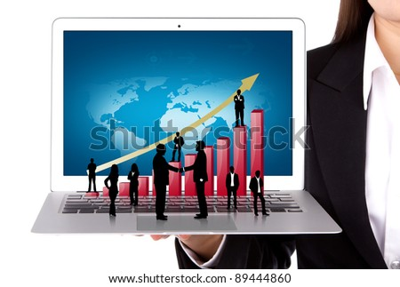 Business people hold Laptop with silhouette people