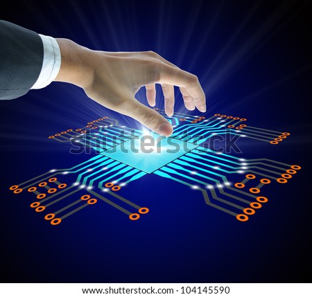 Business people hold the Circuit board