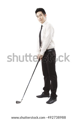 Business people holding a golf club #492738988