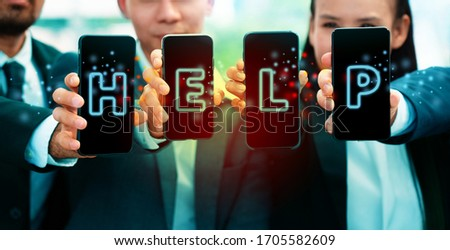Business people holding a smartphone need help from the global economic down. The rate of unemployment among people all over the worldwide. Concept Provident fund