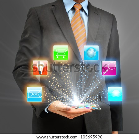 Business people holding glass phone with icon