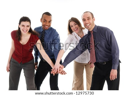 business people holding hands on a white background
