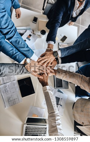 business people holding hands together, togetherness. success win #1308559897