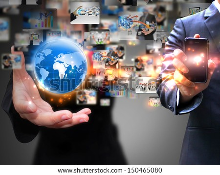 Business people holding social media