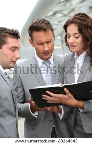 Business people in a business meeting away from the office